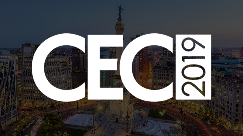 CEC 2019 logo over the background of Indianapolis, IN