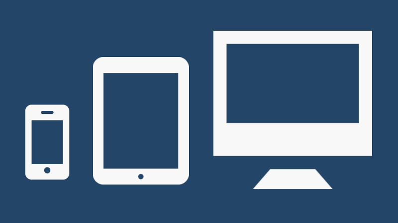 Icons of a mobile phone, a tablet, and a desktop computer