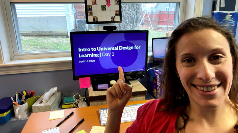 Ari Fleisher, at home showing her home office space during the first virtual UDL 101 hosted by CAST