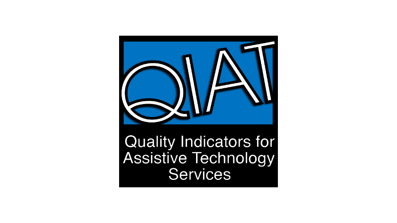 Logo of QIAT group reads Quality Indicators for Assistive Technology Services