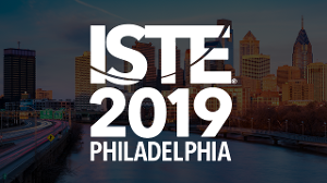 ISTE 2019 logo over the Philadelphia skyline