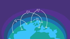Illustration of a globe with line connections enhanced with hearts