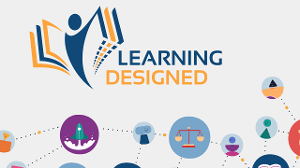Learning Designed logo with learning icons connected with dotted lines